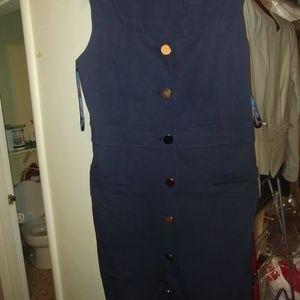Like New Ann Taylor Navy Button Up Dress Sz 14